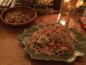 I had one of the specials- Banana flower salad with smoked chicken, peanuts and sesame bread- soo good (this photo was taken before the bread arrived)