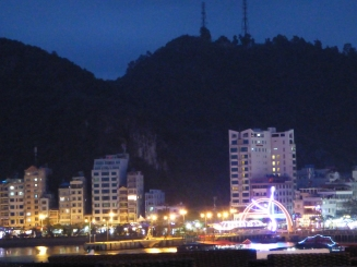The waterfront at night