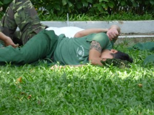 Fast asleep- and unusually for Vietnam he was tattooed