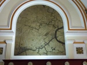 Map inside showing the area in colonial times