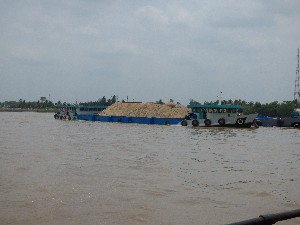 Sand being transported up to HCMC