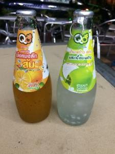 Weird Thai drinks- one on the left-looks like it has frog spawn in it, tastes nice. The one on the right- coconut, tastes foul!