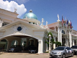 Zipping past Koh Kong International hotel- its is right next to the border and miles from Koh Kong!