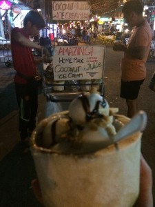 Coconut ice-cream  with chocolate sauce and peanuts- yum!