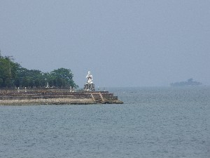 View across the bay to  one of the many monuments.