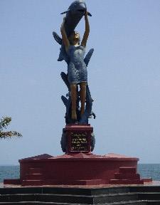 Mermaid (??) statue.