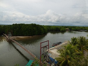 Bridge over the river, Believe it or not they built a resort here. You can just about make out the swimming pool (we couldnt believe it) and the restaurant. There were also over a dozen little houses in amongst the Mangrove. All abandoned half finished.