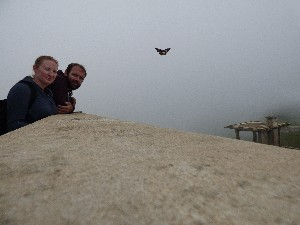 How can we look so miserable when being photobombed by a butterfly? It was cold and damp.