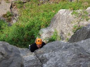 Gav's first climb.