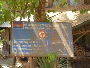 A reminder of the past. Thankfully this area of Cambodia is now landmine free. But there are still some in other rural areas affecting people to this day.
