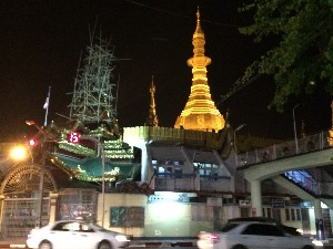 The roundabout pagoda- aka Sule Pagoda by night