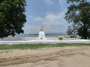 Little stupa by the river at Mingun