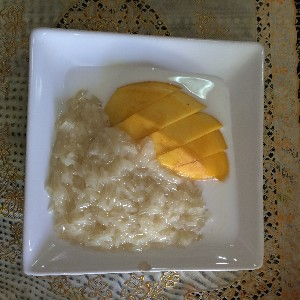 Mango sticky rice- my first time trying this and was hooked!