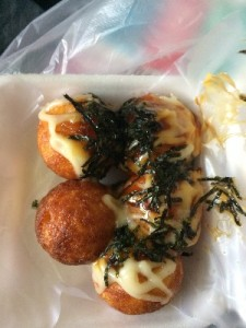 Fish ball pancake things with mayo and seaweed.