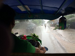 As we drove into Luang  Prabang it started raining again. The joys of rainy season...