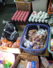 Eggs- the pink ones are similar to the black eggs in China.