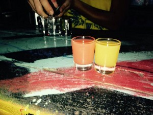 The girls shots- strawberry and pineapple.