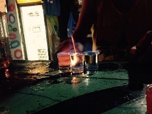 The boys shots- not sure what this was sambucca maybe? The barman had a shot too.
