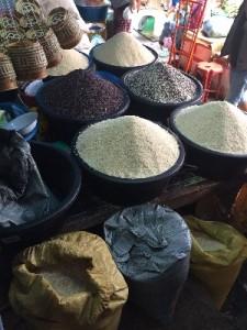 Jasmine, sticky and purple rice, different grades