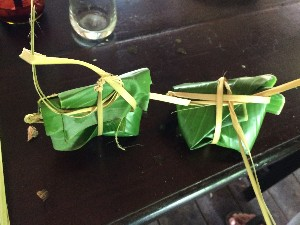 Then the fish was put in and marinaded before transferring to the banana leaves. Interestingly the banana leaves are very stiff and need placed over the coals to soften before use. You could see the change in colour once it was soft enough.