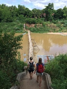 This is a temporary Bamboo bridge across the Nam Khan- it was 5000 kip to cross...