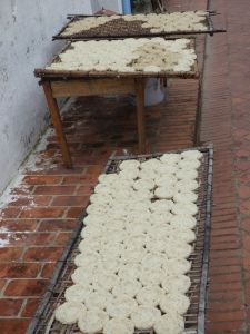 Sticky rice cakes drying on a side street.