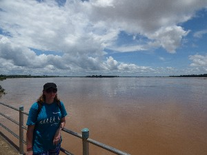 After seeing the train we headed to the very furthest point of the island- that's me with Cambodia in the background