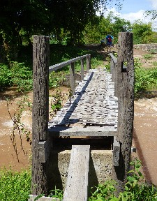 The scariest bridge ever, made of thin strips of bamboo and felt like it might give at any moment....