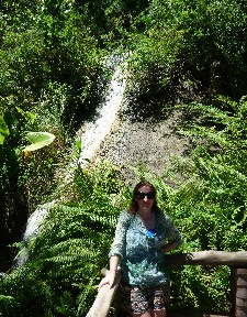 That behind me was a waterfall. It is not far away so yes it is very small and more of a water slide...