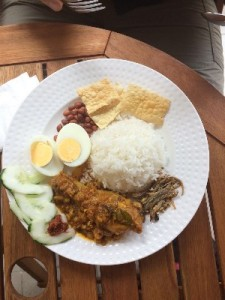 Gav was starving when we arrived so ordered a Nasi Lemak at a local coffee shop. Comes with dried fish, a sort of sweet chili chutney, roasted peanuts, fried chicken skin and a bit of chicken in a spicy sauce.