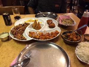 Our first night we treated ourselves to a restaurant, Karai Kudu, got a veg platter, mint paratha....