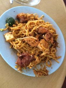 This was our first coffee shop hawker dish- Mee Goreng (basically fried noodles- this particular one was vegggie). If you get food from a stall next to a coffee shop you have to buy a drink in the coffee shop or pay a fee.