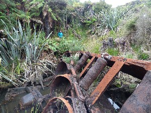 Only rusting equipment remains