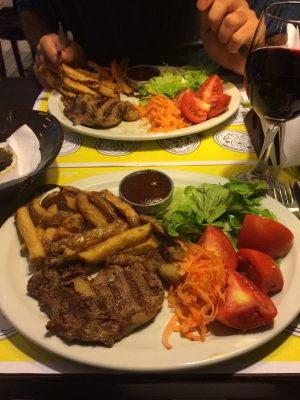 Oh and we got a special one night steak and chips with more of a salad (hurrah!) and a glass of red. not bad at all(the steak could have been rarer though)