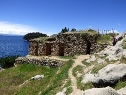 The Incan Templo del Sol, the Incans believed that the Sun god was born on this island- the moon on the smaller island to the east of it.